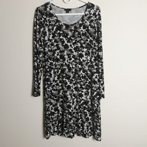 J. Jill Wearever cream black floral dress